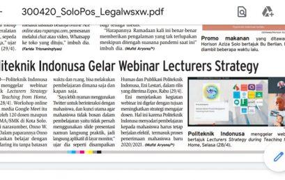 Politeknik Indonusa Gelar Webinar Leturers Strategy