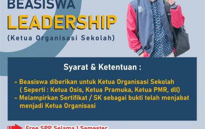 Dibuka Beasiswa Leadership untuk Ketua Organisasi Sekolah