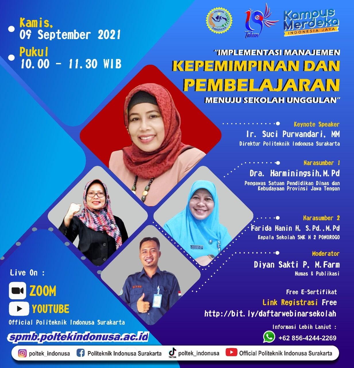 Politeknik Indonusa Surakarta Gelar Webinar Sekolah
