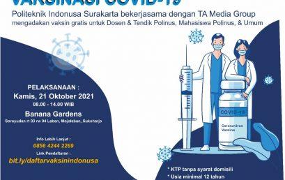 Polinus dan TA Media Group Mengadakan Vaksinasi Gratis